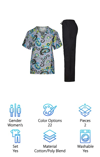 Looking to spice up your scrubs? MedPro makes some of the best quality scrubs in a variety of cute patterns and prints! These are great if you have a casual work uniform policy and can incorporate some seasonal prints into your rotation! They have prints that are adorable for the winter holidays, spring flowers, and paisleys that add some flair to your uniform. The tops come with a chest pocket and two waist pockets, and the pants come with two regular pant pockets at the waist and a cargo pocket on one side. When looking at the scrubs reviews for this set, it's clear that people love the tops and patterns.