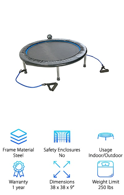 If you're looking for the best trampoline for adults, the Stamina Intone Plus Rebounder was made for a low impact, high intensity workout. What makes this more than just another trampoline? The smart electronic fitness monitor that tracks your jumps per minute, the length of your workout, total jumps, and estimates how many calories you burned. It's surprisingly compact and portable. And check this out: it folds up for easy storage. The steel frame is solid and sturdy while the heavy-duty polypropylene surface will be able to tolerate jump after jump. Resistance tubes hook onto the trampoline so you can work your upper body, too. Don't want to use them? No worries, they're easily removed.