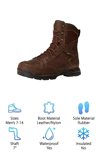 The Danner Pronghorn Uninsulated Boots deliver a truly lightweight and stable feel that made us fall in love. The shoes are made from a mix of full-grain, waterproof leather and light and durable nylon. They are a simple, beautiful chocolate brown. The rubber sole makes gripping onto surfaces easier, even when they are wet. The Ortholite footbed gives you a little extra cushion for your hunting. These don't feature any insulation, and they are perfect for moderate to warm weather walking. These classic hiking boots run true to size, but are a little wider than traditional sizing, giving your foot a little more room without going up a size. And the toe box also gives you a little more wiggle room in case you want to wear thick socks for a long day in the trees.