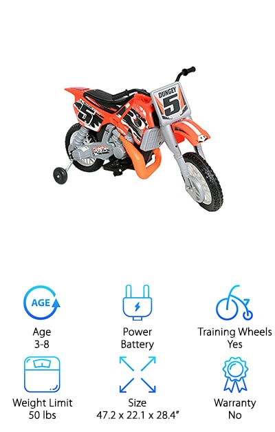Orange, black, white, and awesome all over, the Beyond Infinity is the perfect companion for any young child with dirt bike ambitions. Make your little rider's dreams come true with this cool-looking, motorcycle-style battery-operated bike. The best kids' dirt bikes for sale these days feature a realistic design and the ability to take your child on adventures all over the yard. The Beyond Infinity delivers all of that and then some. Forward and reverse gears provide added control over the ride, making your little one feel like a star as he or she reverses and then kicks it back into drive. Equipped with a rechargeable 12v battery, the ride lasts long enough to keep your little one satisfied. If you're looking for the perfect dirt bike for the apple of your eye, you won't want to miss this deal, which is sure to bring a smile to any little face!