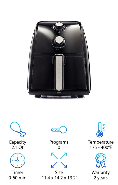 The Bella Electric Hot Air Fryer keeps it simple with two dials for setting the temperature and timer, plus two indicator lights to let you know when the air fryer is on and working. This air fryer shuts off automatically when the set time completes, and you can cook up to 2.2lbs of food in the 2.1-quart basket! This basket can be removed and tucked into the dishwasher to make cleanup easy. The 1500W convection stainless steel heat system works quickly to give you tasty food ASAP! The basket capacity makes it a good option for individuals and small groups, or for cooking appetizers and side dishes for the whole family. Beyond frying, the convection design of this air fryer makes it a mini oven for roasting meats or baking cakes as well! The two-year warranty is another great feature to give you peace of mind while you cook.