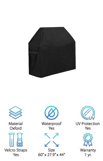 The GoProver Gas Grill Cover is designed to fit a range of different grill brands and is made with 600D Oxford fabric with PVC. That means it's entirely fade resistant, UV resistant, waterproof and weatherproof. No matter what's going on in your area, you shouldn't have to worry about your grill getting damaged. Even when it comes to wind the Velcro straps on both sides are made to hold this cover tight to your grill, making sure it doesn't blow away. Just slip it on, tighten the Velcro straps and you're going to be ready to go for as long as you need it. If there's ever any dirt or debris on the cover itself you can spray it with a hose and dry it out in the sun without having to worry about damage, fading or anything else. Even still it's breathable and pliable, making it simple for you to put on or take off whenever you need to.