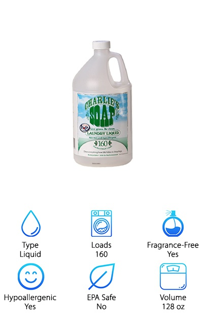 "You likely began using cloth diapers, in part, because of the cost savings. So when you look around for the gentlest, strongest cloth diaper detergent, it should also be affordable. We really liked everything about Charlie's Soap Liquid Detergent, including the price. We also liked the delicate ingredients and the care that went into crafting something for use on kid's attire. Charlie's Soap is made to be used on any kind of fabric. They left out the perfumes and dyes, so this selection is fragrance-free. It's also formulated for folks with sensitive skin or allergies. You'll get a whopping gallon of liquid detergent, good for 160 loads of laundry. Use it both in a regular washing machine or a high-efficiency contraption. Watch the savings add up with a solid cleaner like Charlie's Soap. Those mild ingredients won't seem so passive when they start to wash away the dirt! You can say ""See ya!"" to those nasty smudges for good."