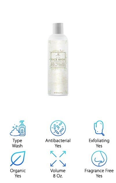 Sometimes, what a cleanser does not include is just as important as what it's made of. In the case of Era Organics Face Cleanser, here's what you're NOT getting: There are no artificial fragrances, parabens for preservatives, toxins or chemicals. It is also cruelty-free because the company does not use animal testing. What you do get is natural, food grade products in an 8-ounce bottle that will last you a long time. This wash is antibacterial and antimicrobial, and it will kill much of the acne-causing bacteria. Ingredients include tea tree oil, pomegranate seed oil, dandelion root and burdock root. Not only will your skin be cleansed, it will also be nourished and soothed. Folks with issues including rosacea and redness can also find relief. Slough dead skin cells away as you treat breakouts, irritation and even wrinkles. Era Organics loves their organic face wash, and they know you will too, so they offer a 60-day money-back guarantee.