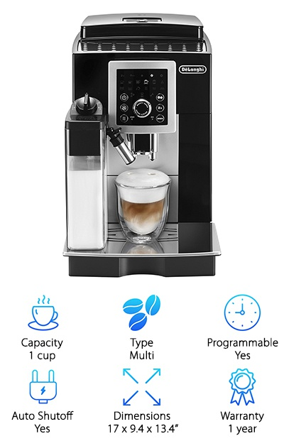 When we reviewed the DeLonghi ECAM23260SB, we were more than impressed with it. It is certainly a premium espresso machine that offers a lot of value. Serious coffee fans will want to be sure to add one of these products to their kitchen. It is conveniently designed to craft the drink from start to finish without moving the cup. You can easily program this machine to brew up your favorite drink, but our favorite part is that it has a 2x function, which allows you to brew a double-size version of your custom drink. With this machine, you will get fresh, perfectly ground coffee brewed at the right temperature for each type of beverage. It also adds a dense layer of foam directly to your drink if you are making a Latte, Cappuccino, or even a Macchiato. You will not believe how easy it is to whip up a premium beverage. Simply push a button, and you will get a drink that tastes like a professional barista made it.