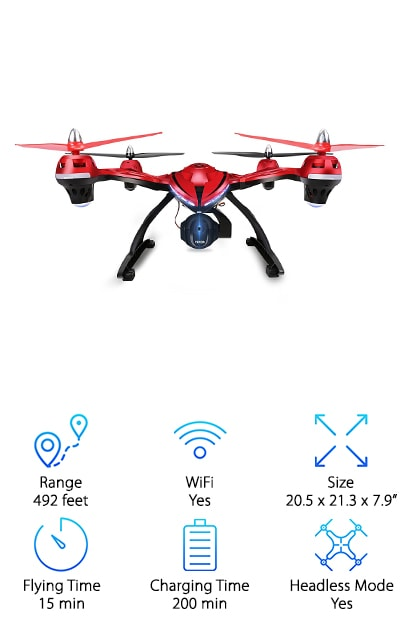 We know that when you're looking for quadcopter drones, looks matter. Maybe not as much as performance, but who wants an ugly drone? Well, lucky for us, the Holy Stone Large Quadcopter is awesome and looks pretty sweet, too. The bright red body on this one not only looks good but it makes this drone easier to spot while it's flying (and if it gets away from you and you have to spend time looking for it later.) Another thing we really like about this one is the altitude hold function. It's so simple! Just let go of the throttle and the drone holds its altitude. This is a great way to get some amazing pictures and videos with the 720P HD WiFi FPV camera.