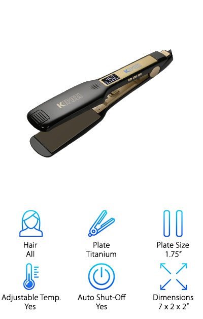 The flat iron can deliver results that a blow dryer cannot. Stylists know this is true, which is why they always have both ready to go at the salon. Here's the great thing: you can now afford to do the same! Select a flat iron like the KIPOZI Titanium Flat Iron, built for all kinds of hair. The 1.75-inch titanium plates offer even heat distribution and go up to a wide range of temperatures. Go as low as 170 degrees and as high as 450 degrees Fahrenheit, depending on your hair's thickness and health. This is a lightweight, more compact hair straightener, making it easy to manipulate and use. You can pretend to be your own stylist in the privacy of your bathroom. It also has that all-important automatic shutoff feature. Tackle frizzy, unmanageable hair and transform your look! The KIPOZI Flat Iron is worth a try for anyone interested in revamping their glam routine.