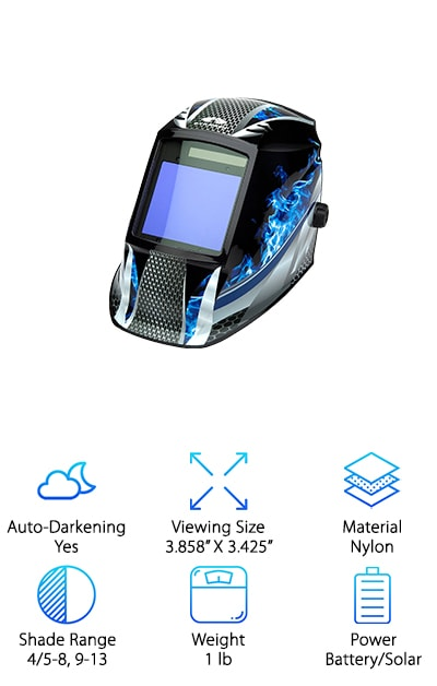 Rounding out our welding helmet buying guide is the Pyramex. This professional welding helmet features fluorescent blue flames and a wide viewing range, allowing you to weld in style as you successfully complete projects. A lens equipped with magnification helps you master detailed work. The high-speed lens has a 1/30000 of a second response time and auto-darkening technology, ensuring maximum protection for your eyes against harmful ultraviolet and infrared light. Four independent arc sensors provide superior detection of harmful rays to keep you safe. A leader in safety features, the Pyramex also takes comfort into consideration. The adjustable strap and suspension provide a superior fit as you work. And how about this: you don't have to worry about losing power because the battery is supported by backup solar energy! Equipped with all the right features, the Pyramex is a strong finish to our top ten list!