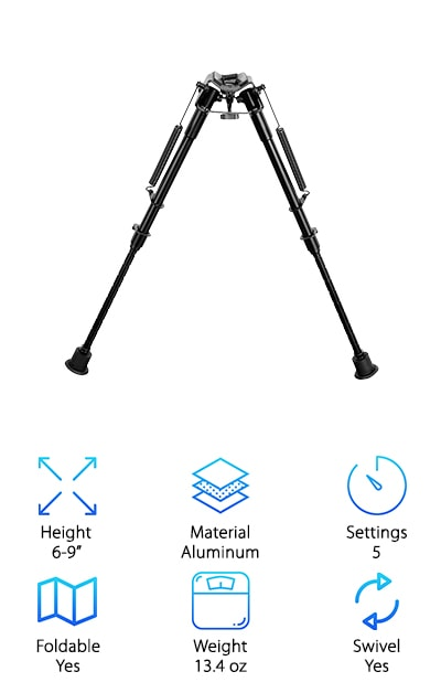 This is a great choice for people looking for the best bipod for long range shooting. This bipod comes made of heavy-duty hardened steel and aluminum. It is coated with a black anodized finish that helps keep it safe from anything that you encounter. It has adjustable leg lengths with five different settings that allow you to easily choose the height that is perfect for you. It also has return springs that make it easy to change settings or collapse the bipod when you're finished. It is easy to quickly attach and detach the bipod from the rifle using its existing swivel stud. It also comes with a Picatinny rail adapter, so you won't have to worry about getting an adapter or the bipod not fitting onto your gun. This is a great pick for anyone looking for a solid and adjustable bipod. This bipod can be adjusted from six to nine inches, making it a perfect bipod for most users.