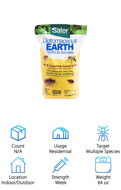 If you're looking for another environmentally safe option, check out this ant killer from Safer Brand. This large 4 pound resealable bag is 100% diatomaceous earth and highly effective. What is diatomaceous earth? It's naturally occurring soft sedimentary rock made of fossilized hard shelled diatoms. It easy crumbles into a powder. How does it work? While it feels soft to us, it has microscopic sharp edges. They cut through the exoskeleton and dehydrate the ant. It works on a lot of other insect species, too. Ants can't build an immunity to it because it's not a chemical. It starts working almost immediately but can take up to 48 hours to kill an insect. The best part? It's safe for the environment and for humans. You can use it indoors or outdoors, too.