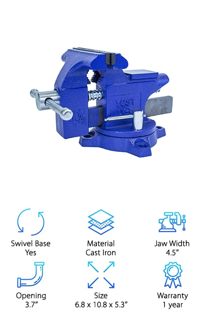 The Yost LV-4 Home Vise is--you guessed it--designed for home use. It has a swivel base with a 240-degree range of motion designed to reduce side to side movement. The tool is made from blue powder-coated cast iron with steel vise jaws, plus a zinc-plated threaded spindle assembly and a lockdown. The jaws are cast in place for a secure hold. It can be mounted to a workbench or table using ?'' bolts, which would give you a totally stable base to work with. You also get a one-year warranty, just in case! This simple vise is solidly built, easy to install, and high-quality. The pipe size capacity makes it a good choice for gunsmithing as well as light home improvement work. You can even use it for holding blades for sharpening if you pad the jaws in some way. Overall, the Yost LV-4 is a great choice for a variety of hobbies and home improvement projects.