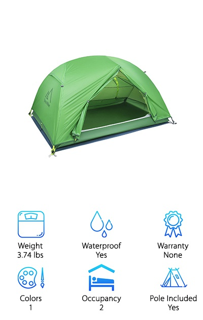 This is a great tent for people looking to bring someone else with them on their adventure. It's a two-person tent that can work in all four seasons, so even your snowy camping dreams can come true. The inner tent is made of breathable nylon mesh for the most effective air ventilation and protection against bugs. It comes with a rain fly and a ground tarp for nights when you have inclement weather. There is a pain-free color-coordinated setup to help you enjoy your camping trip instead of cursing at the heavens when trying to piece together your shelter for the night. It comes with both front and back doors as well as 1 mesh vent. This tent provides ample space for two people to sleep and lounge comfortably. It has reflective strips to enhance the visibility of your tent at night, so you won't ever lose it! This is a great tent for a two-person trip.