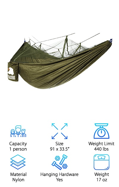 Last but not least is the Covavure Camping Hammock which is honestly a little next-level. Get this: it has a mosquito net! Never again do you need to worry about sleeping outside and waking up covered in bites. The hammock itself is made of woven nylon that's both breathable and really strong. It even had triple-stitching for extra support and is even quick-drying. There's more. It's really lightweight but to make it even easier to transport, the integrated the stuff sack right into the design. It's stitched right into right side so all you have to do is roll it up and tuck it in when you're done. Everything you need to hang it is included, too: 2 nylon braided ropes and strong carabiners. Plus, it comes with a 6-month money back guarantee.
