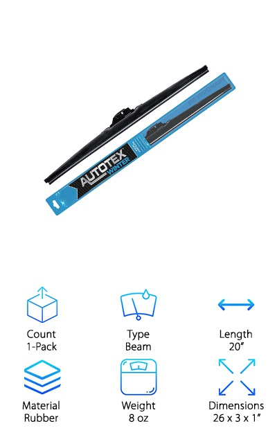 "The best winter wiper blades come prepared for all kinds of conditions: rain, ice, snow, and more. Whether you live somewhere that gets heavy snowstorms or just gets a little cold, purchasing a strong winter blade like the AutoTex Winter Wiper Blade is a very smart idea. These tenacious blades can withstand a lot! It gets better: AutoTex sells their beam blades in sizes ranging from 16 to 28 inches for an affordable price. The design is pretty ingenious: the blades are made of steel, and then covered with a rubber ""boot"" to keep all of those snowflakes off of your windshield. These wipers come with a universal connector for easy installation. They come in single packs, so you can try one or two out and replace worn wipers as necessary. It all adds up: durable, smartly designed, long-lasting and made for bad weather. Try them out and see if these AutoTex Wipers are the way to go!"