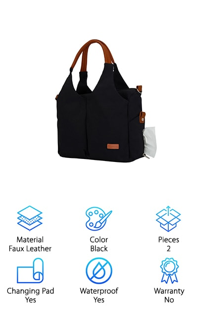 Diaper bags don't have to be bulky and frumpy. In fact, they can be quite cute, as proven with our final pick, the Leke Messenger Bag. This multifunctional bag can be worn as a messenger bag, over the shoulder, or carried by its handles. It's made with a modern, sleek, black look that will please moms with both sporty and classic style. A large zippered pocket provides ample room for everything you and baby need throughout the day or night, including diapers, wipes, bottles, clothes, and your phone and wallet. Bottle holders keep liquid separate but don't worry about drips or spills, because this bag is waterproof. And get this: the left side pocket can be used as a tissue or wipe dispenser, without having to open the bag! Complete with stroller clips for the ultimate convenience and its own changing pad, you'll be well-prepared and organized to take on all of your tasks outside of the house with this bag.