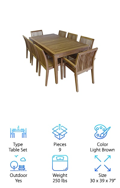 Premium, solid, grade-A teak wood. That is all you will find in the Ohana Teak Dining Set, a stunning 8-piece table and chair set. The chairs come fully assembled, and there is some minimal setup required for the table. Teak is naturally resistant to corrosion from moisture or strong sunlight, but the manufacturers of the Ohana Collection still went ahead and added additional protection. The table is hand-finished with a protective clear coat to keep the elements at bay even longer. You will be happy when you see how long this table stays free from mold and mildew. These are all major reasons for using this table both indoors and outdoors. It is the perfect item for your patio, your backyard, your garden or your summer home. It is a central spot for entertaining, for gathering the family, and for celebrating joyful events. The table measures a generous 82 inches long. Each dining chair is 22 by 24 by 35 inches.