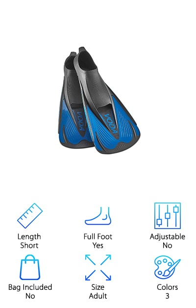 Something unique about these snorkeling fins from Phantom Aquatics is their non-vented design. They're short bladed and lightweight, ideal for casual snorkeling or even more serious and intense swim training. The blade is really reactive. What do we mean by that? It has side rails and a ribbed design that help focus the water. This helps you get a more powerful stroke. That's not all. The thermoplastic rubber material helps to make sure that you're getting the most performance out of your effort. We also really like the foot pocket. It's soft and comfortable with soft rubber elastomers. Plus, they have an open toe design so these fins fit a range of foot sizes. They also come in a few different color options: all black, black with blue accents, and black with yellow accents.