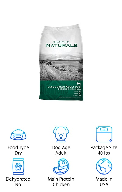 Filled with great vitamins, minerals, and other good stuff your dog needs, Diamond Naturals 60+ Formula is one of favorite cheap pet foods that you can buy. It's made in the USA and is made from mostly chicken and rice that are easy to digest. The list of ingredients is pretty short and filled with all of the things your dog's body needs to be a healthy, active adult. It also comes in a lamb and rice variety. This all-natural formula is made for 60-pound and bigger dogs. Made in the USA, Diamond Naturals 60+ Formula helps your big dog to have plenty of protein, healthy joints, healthy digestive system, and a shiny coat so they can enjoy an active lifestyle. So if you have a big, adult pooch that's always ready to play, Diamond Naturals 60+ Formula is an awesome food for them!