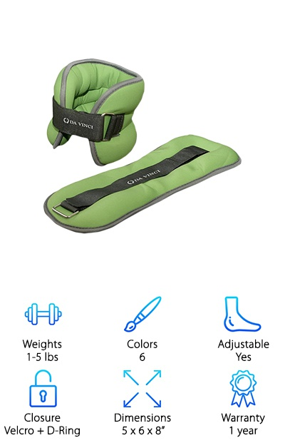 If you are looking for a wide range of color and weight options, then the Da Vinci Adjustable Ankle Weights are another great choice for you. You can choose a weight that is suitable for your skill level, or you could buy each weight and use them as your strength increases. Each size comes in a different color, but there are six colors to choose from: orange, dark blue, light green, yellow, red, or green. When you purchase them, each set comes with a Velcro strap that is secured with a D-ring. You will always get a snug fit on either your wrists or ankles while you wear these weights. Not only do they have a soft cushion, but the material is a soft cloth that absorbs moisture. The material is also stretchy so that it can conform to the shape of your body. All in all, this is a great buy for someone looking for variety in their workout routine.