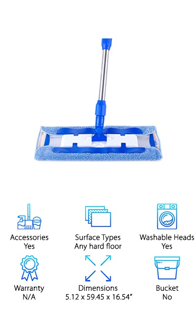 "This professional grade microfiber mop has a cool and effective mop pad clip on design. If you're looking for a microfiber mop that has something other than Velcro to attach the pads, check this out. Long clips with teeth go down either side of the mop head and clamp shut. The mop pads are firmly held in place until you remove the clamps. There's more good stuff, too. The handle telescopes from 36.6 to 59"" so you can comfortable mop the floor or clean ceiling corners. Another cool thing is the scraper tool. Use it on the mop pad to squeeze out excess water, scrape off ground in pet hair, or just clear away debris. It also comes in handy if there's something stuck to the floor. 3 microfiber cloths are included."