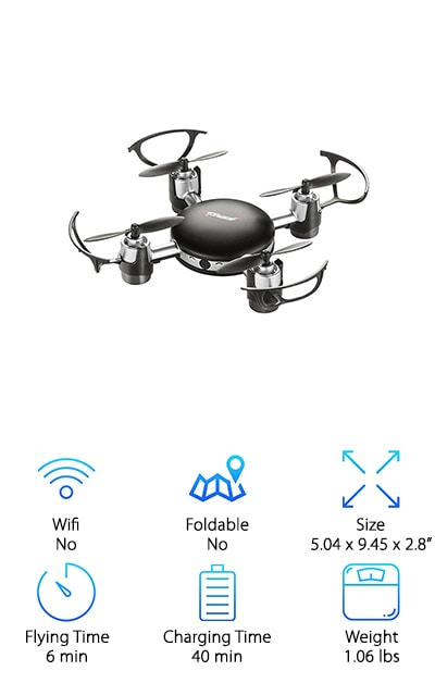 Maybe you want something that isn't so tied to your smartphone and you're wondering if there's anything like that available. The answer is, yes. There is. The Top Race Mini SPY Drone has an LCD screen on the remote that allows you to see the first person view of the drone as it flies. You get HD footage, right in your hand, no smartphone needed. But this drone is more than convenient; it does some awesome things in the sky, too. The 6-axis gyro system makes it easy to fly and maneuver, but getting it to return to you is the easiest thing of all. Just put the return to home button and it automatically comes back to the same place it took off from.