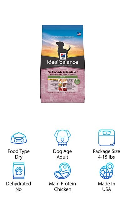 The Hill's Ideal Balance Small Breed line is made with the small mouths and fast metabolisms of small breeds like the maltese. Rather than corn, wheat, or soy, this dry dog food uses rice, barley, and oats as sources of complex carbohydrates for energy. Protein from fresh chicken is high-quality and helps build and maintain muscle and a healthy weight. Fiber from brown rice and beet pulp help keep digestion running smoothly, while omega-3 and omega-6 fatty acids from flaxseed and other sources help to maintain the skin and coat. Other vitamin and mineral supplements help keep your dog in tip-top shape, too! And it's all made without artificial colors, flavors, or preservatives. Some maltese show reduced tear stain issues when certain ingredients are cut out of their diet. If you're looking for a balanced, natural dog food free from corn and other common dog food ingredients, Hill's Ideal Balance might be… ideal!