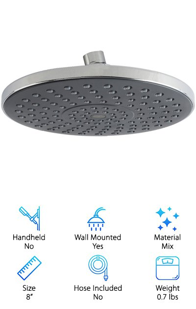 Wilbork's Rain Showerhead is a beautiful and inexpensive house-warming present or a great upgrade for your current showerhead. Its eight-inch spray face with 118 nozzles does an admirable job of giving you that rain-drenched feel of a tropic summer day. The head is made from high-grade ABS plastic, not as durable as brass, but still quite good. The chrome finish is particularly well-done, though, making the product feel more premium than it actually is. In truth, this is one of the most budget-friendly options on our list. However, because it's a fixed overhead model, it's not our budget pick. Some people may prefer a ceiling-mounted setup, other might not. Either way, there is a metal swivel ball, though, that lets you adjust the angle of the head, so all is not lost if you're looking for flexibility.