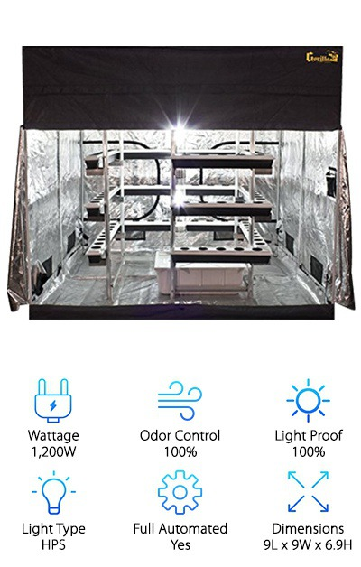 So if you want your closet grow room to actually be the size of a real room, there's still hope: the Big Buddha Box integrates a 9x9 Gorilla Grow tent with all of the awesome bells and whistles of SuperCloset designs. One upside of this grow tent is that you can buy a height extension, boosting it to almost eight feet. The downside is that it's not as secure as the other grow rooms on our list and doesn't have an integrated lock. Other than that? It's really awesome. Space for 75 plants, all watered with VerticalPonic ebb and flow hydroponics, able to grow up to five times bigger with more production than typical horizontal grow setups. The two 600W HPS lights are air-cooled, digital, and dimmable so your plants can grow up towards them without being burned. A trellis system helps your plants produce more, too. Internal fans circulate the air, which passes through a Phresh carbon filter before being released outside of the tent. You also get a digital thermometer/hygrometer, a TDS meter, analog single timers, and a pH control kit to keep your environment just the way you like it.