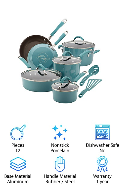 The 12-piece Rachel Ray Cucina cookware set combines hard enamel porcelain exteriors with an aluminum base and PFOA-free nonstick. Choose from a few different color options: agave blue, cranberry red, lavender, mushroom brown, or pumpkin orange. The set includes a lidded one-quart saucepan, a lidded three-quart saucepan, a lidded six-quart stockpot, an eight-inch skillet, a ten-inch skillet, and a lidded three-quart saute pan. Bonus: you get a slotted turner spatula and spoon in matching colors! The shatter-resistant glass lids are ideal for keeping an eye on your food without letting steam escape. The stainless steel handles have rubberized silicon grips that are oven-safe up to 400°F. Worried about chemicals in nonstick coatings? The Cucina set uses PFOA-free nonstick that releases your food easily. This is a great ceramic cookware set to cover all of your bases in one go!