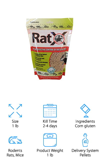 What is the best mouse bait? RatX! This recipe is unique and all-natural. Unlike most other poisons, this formula is made with corn gluten. It works with the rodents' digestive systems to coat their stomachs and stop important neurological messages from reaching their brains. There are no terrible, violent deaths – instead, the rats just go to sleep in the burrows. RatX boasts that this poison actually mummifies the rats, reducing the smell by up to 90% after death. It only takes 2-4 days after feeding for the poison to take effect. This product works by requiring the rat or mouse to eat only about 40-60% of what they would normally eat in a feeding, so if they feed on RatX just once it has the capability to work. Here's the kicker: it's eco-friendly and only works on mice and rats. So your pets, kids, or even other animals won't be affected by RatX if they get their hands on it.