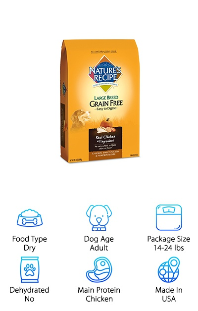 This grain-free adult dog food from Nature's Recipe is designed for the nutritional needs of adult dogs over 50 pounds. Instead of wheat or corn, your dog receives digestive support and carbohydrates from sweet potato, peas, and pumpkin. Chicken and chicken meal provide high-quality protein without animal by-products or by-product meals, and a blend of vitamins and minerals provide total support for your dog's health. Golden retrievers can lead very active lifestyles, and it's important to find a dog food that provides plenty of protein and other supports! If your golden retriever has a wheat or grain intolerance, that makes Nature's Recipe an especially good choice! It's also easy to digest and a good option for dog owners who just want to avoid grains in favor of alternatives like sweet potato and pumpkin. This formula helps large dogs maintain strong muscles and joints to keep them active!