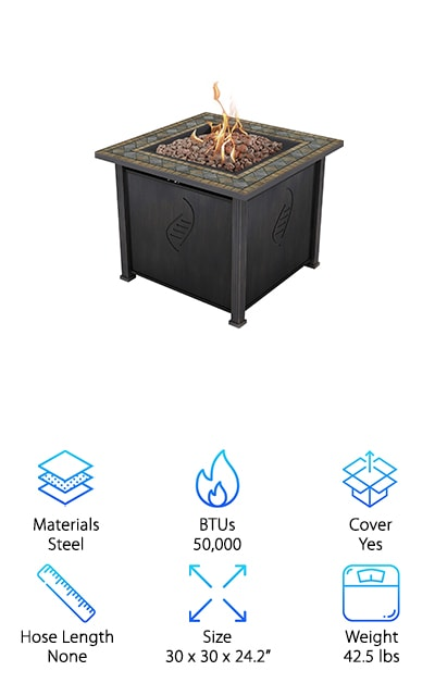 Last but certainly not least is this gorgeous fire table from Rockwell. This fire pit has a specially crafted base that's made out of heat-resistant steel. Why does that matter? It ensures that your fire pit will last a really long time. What's really special about this one it the top surface. The Envirostone faux design resembles an old world mosaic that will add a touch of class and sophistication to your outdoor seating area. This isn't exactly a portable fire pit but it's not so heavy that you can't move it around if you want to rearrange the furniture. You'll get a run-time of 15 hours with a 20-gallon tank of propane. Use the tank adjustments as needed to make sure you get the most out of this one.