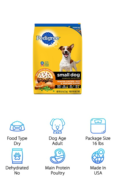 The Pedigree Small Breed Dry Dog Food for adult dogs is available in 3.5-pound and 16-pound bags. The varieties use poultry for the main protein source and are available in roasted chicken or grilled steak flavors. Designed for the nutritional needs of small breed dogs, this kibble is packed with antioxidants, vitamins, and minerals, such as omega-6 fatty acids for hydrated skin and a shiny coat. The kibble comes in small pieces that are easy for your chihuahua to handle, and many people report that their picky dog loves Pedigree dry dog food! Although free of high fructose corn syrup, artificial flavors, and added sugar, this dry dog food does contain grains like corn, which some dogs can have sensitivities to. However, if you're looking for the best dog food for chihuahuas with a low price and great nutrition, this dry dog food is a great option!