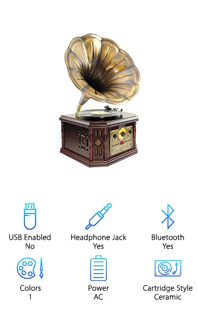 If you want something that's truly going to look old but give you all the sound quality that you like this Pyle Gramophone is definitely going to do it. It looks just like the old devices you'd see in homes or event centers and it can play everything from records and cassettes to CD's, AM/FM radio and anything you can connect through AUX or Bluetooth. It's definitely going to give you what you're looking for and it can even transfer your vinyl to an MP3 file so you can take it with you on the go. This is a device that you're going to want to leave out in the main room of your house so that everyone can see it and experience it because it's definitely unique and a whole lot of fun. It's also designed to offer great sound and a classic feel. It's definitely the best all in one turntable we've found.