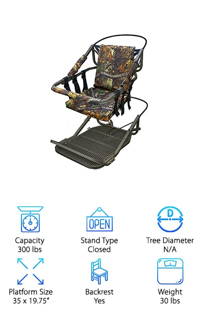 "This climber is another great lightweight option for people looking for a stand that offers a little more in terms of backrest and padding. It has a seat and foot platform rest that allows you to sit comfortably in the tree, patiently waiting for the hunt. This stand can support up to 300 lbs, so it's a great choice for most hunters. The padded climbing bar helps you to hold your gun, or to just get some rest when you're having a long day. This climber provides excellent stability for hunters who really want to be able to wait patiently for their game. It is a closed stand, so it's very comfortable and offers a place to rest your gun. The platform is fairly large, at 35 x 19.75"". It weighs around 30 lbs, so you won't have to worry about toting it around from tree to tree. This is a great choice for anyone looking to get a great closed climbing stand."