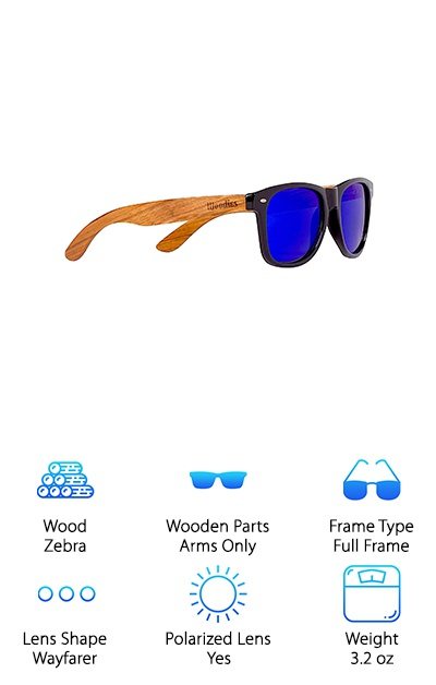 Woodies Zebra Wood Sunglasses