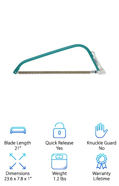 At first glance, the Gilmour 21-Inch Bow Saw doesn't look like much. But one quality does stand out: it has a self- is adjusting blade tension system. This means that the blade would not be too tight and risk it snapping while at work, or too loose that it would flex, warp, and come off. Another standout feature is that the blades can rotate at 45 degrees and 90 degrees, which lends extra flexibility when you do saw work around a branch or bush. On the cutting side, the Gilmour 21-Inch Bow Saw features edge hardened and nonstick coated blades. This will enable you to make clean cuts without having to worry about your blade dragging because it has sap and other residue sticking to it. Because of these, the Gilmour 21-Inch Bow Saw is perfect for pruning and camping. On top of that, Gilmour provides a limited warranty that is good for a lifetime.