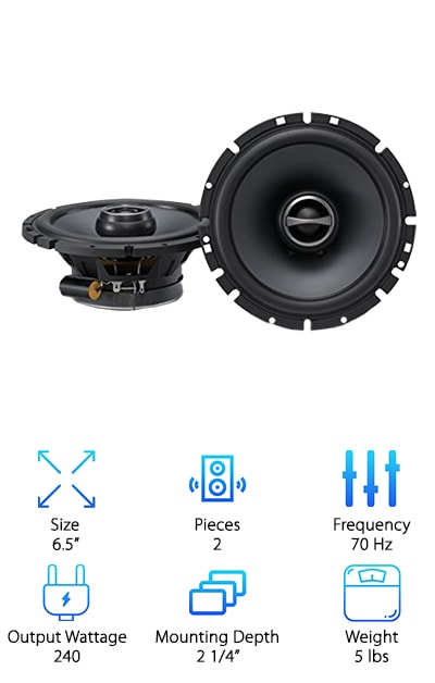 The Alpine SPS-610 Type-S are some of the best rated car speakers we came across. Whether you want to use these with a powerful aftermarket amp or stereo or just replace the factory speakers that came in your car, these speakers will give you immediate improvement. They have a great range and are able to handle low, mid, and high sounds and give impressive clarity. The cones are made of lightweight, stiff polypropylene that helps give the bass a boost and keeps the midrange clear. The silk dome tweeter will bring out all the melodies of the higher range. All and all, these are an impressive set of speakers that have all the right components working together to really improve sound quality. One more thing: this set is covered by a 1-year warranty.