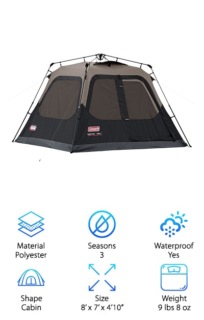 We established earlier that you can't go wrong with Coleman, when it comes to the great outdoors. The 4 Person Instant Tent stays true to its name, easily setting up in less than a minute, thanks to pre-attached poles that extend and secure. The patented Coleman WeatherTec technology applies to this premium model, just like our budget pick. It features welded floors and inverted seams that keep water out, so you and your crew stay warm and dry. An integrated vented rainfly provides extra airflow and ventilation, without any added assembly! As a polyester cabin tent, you and your companions will enjoy added room to stand and walk around inside. Dome tents do not provide the same amount of space. Even better, it easily fits cots and airbeds, for a comfortable sleeping arrangement. Perfect for hunting, camping or fishing, you won't be disappointed in the features, especially for the price!