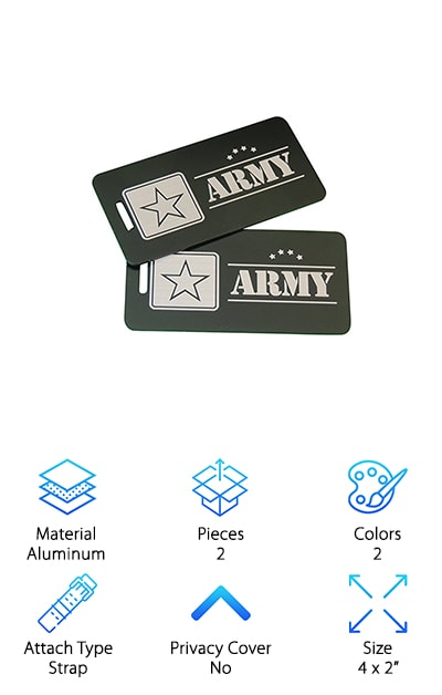 "Members of the military, veterans, and their families are proud to wear the insignias of the U.S. armed forces. Now people who serve or have served in the U.S. Army have a great way to identify themselves as they travel, with these US Army Luggage Tags from Airspeed Junkie. These tags are made in the USA. They are crafted from aluminum, and they come in two colors: Blue and silver. Emblazoned across each pair is a star and the word ""Army."" It is engraved on both sides. Straps are also included. These come at a very economical price and make a wonderful present for the Army hero in your life. Whether you are embarking on a trip or simply want a new accessory for a work bag or a gym bag, this is a good choice. The tags measure 4 by 2 inches, and they won't get banged up by luggage handlers or bad weather. Say it loud and proud!"