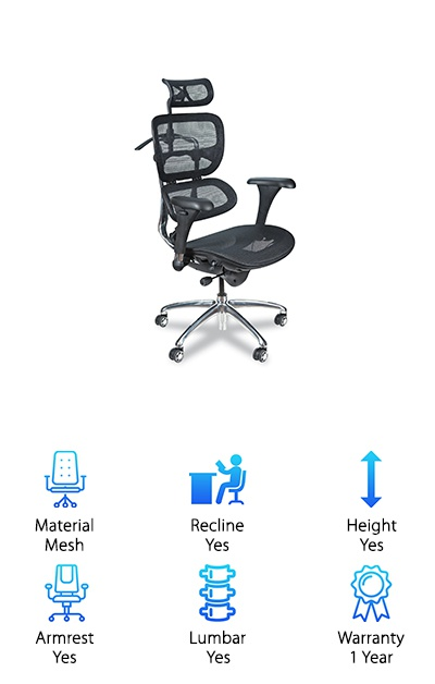The Balt Butterfly Ergonomic chair is one of the most well-designed and comfortable office chairs we have seen. Fully made of mesh to keep you cool and focused no matter what the temperature, and capable of tilt rocking into three different positions, it is great if you need maximum flexibility and comfort. The synchro-tilt mechanism allows for easy seat adjustment to add extra support to the already comfortable lumbar support of the back. The flexibility of the armrests and headrests means you can find that sweet spot no matter which time of day it is. The impressive array of ergonomic features makes this a great ergonomic chair for anybody. We liked the design, ergonomic sitting benefits, and the price tag. It is an unpretentious and overall great chair.