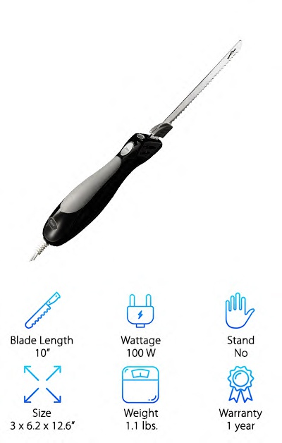 "The Oster FPSTEK2803B is a corded electric blade that just looks smart. And it's priced smart too! The cord is nearly 5 feet, but the whole length coils up neatly into the attractive case. The case is also strong and durable (and shiny!) plastic. It comes with a carving fork to help you hold down your food as you carve it. The blade is long and thin, but not wobbly, and it seemed to be able to handle everything you can throw at it. The handle was a little bit bigger than most, but it is still lightweight and easy to hold onto. The best part of the Oster was the specially designed blade tip. It was designed to make ""hard to carve areas"" a little easier. It's like having an extra, tiny, super-sharp knife attached to the end of the blade. This cool little design feature made this one of our top ten electric knives."