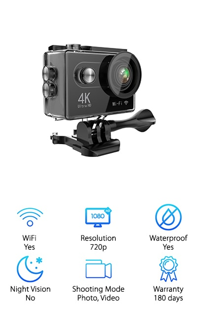 Hiearcool's 4K Action Camera has a high-quality image sensor that can capture 4K video. But here the kicker. It also has a wireless remote control that lets you control the camera, frame shots, and record video. And it's so easy, just strap the remote on your wrist and just press the button to use the remote control. Don't worry about stopping what you're doing to get the perfect shot! This one has built-in WiFi and an HDMI cable for easy file transfer. Download the free app and you can easily edit and share your photos and videos. There are a lot of accessories included with this camera, too. 18 in total. Plus, it's equipped with a durable waterproof case that can also stand up to drops, dust, and freezing cold temperatures.