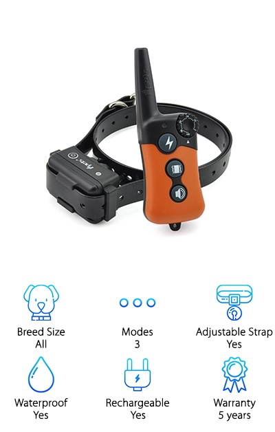 The iPets Shock Collar is designed to fit small to large dogs with a collar adjustable from 6.3 inches up to 25 inches around. The wide adjustment range makes this a good choice for small dog breeds. The remote is designed to make training fast and easy with a stimulation level dial and separate buttons for sound, shock, and vibration--no need to waste time toggling between modes by pushing the same button. The beep, shock, and vibration intensities can all be adjusted separately depending on your needs. You can charge the collar and remote simultaneously with the included wall charger. The collar is waterproof while the remote is water-resistant. The remote works up to a 900 foot range (330 yards), so it's a great choice for larger backyards or training in the park! This collar setup is designed to meet the needs of a wide range of dogs and owners, acknowledging that one size does not fit all!