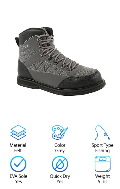 This boot is one of our picks for the best boots for ice fishing. It has a felt sole allowing you to get superior traction even on slippery river bottoms or ice. They are built on a wide last to accommodate stocking foot wader booties.  This allows you to double up on the wading power. They are speed laced in the front to help you get them on and off quickly and easily. They come with a premium and durable toe and heel box. This helps keep your toe and heel protected from slips or falls. They are made with a lightweight EVA midsole for comfort. They come in a smart grey and black combo that won't get too hot on long days but still looks incredibly sleek. These boots also have a padded tongue and collar. This keeps you comfortable when out on the river for a long period of time.  These features also help you get the boot on and off more quickly and easily.
