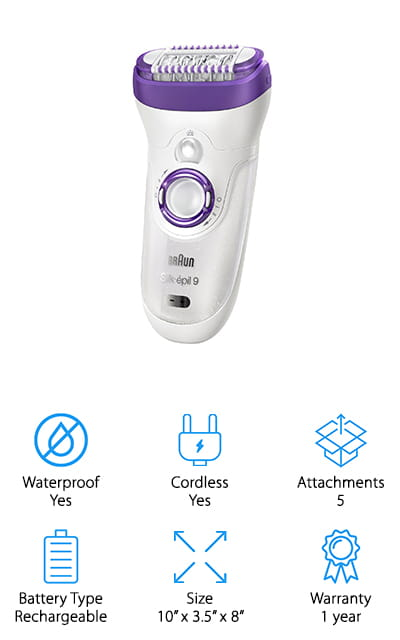 We were blown away by this kit! We couldn't make a top ten list without including a classic Braun face epilator review. This device is truly the top of the line! An extra-large surface area allows this device to remove a large amount of hair at one time, making it extremely fast and effective! It can remove your hair in any condition – wet or dry, and it gets hairs that are shorter than even waxing can reach. That's amazing! The head pivots and vibrates so you can get the gentlest and closest shave even in those difficult places! What we found really amazing is the number of extras this epilator kit comes with. There are 7 extras, including 5 attachments for shaving, trimming, massage, epilating, and exfoliating. In addition to this, there is a charging stand (no batteries!) and a brush to keep your face polished and clean. We think that this kit is definitely worth the investment!