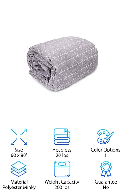 You don't have to compromise style when you're looking for a therapeutic weighted blanket. The Rocabi is a gorgeous gray blanket featuring a fashionable light geometric pattern on the topside and soft raised dots over a plush minky material on the bottom side. Snuggle into your home decor when you choose the Rocabi Weighted Blanket. Enjoy the sleep of your life, as this cozy, cushiony blanket wraps itself around you and simulates the feeling of a real hug. Available in a range of sizes and weights, you can match the blanket to your body for the most relaxing experience possible or choose a large size perfect for two people over a queen or king size bed. This beautiful blanket feels like a slice of heaven whenever you need it, whether for medical reasons, meditation, or stress relief. And the outer cover is machine-washable, so it stays fresh and clean.