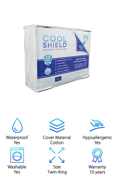 The Cool Shield Mattress Protector comes in Twin to King sizes, including Twin XL for all you college students out there! It's waterproof and hypoallergenic, so it's a good option if you suffer from dust mite allergies. The fitted sheet style fit makes this mattress protector easy to take on and off, and it's machine-washable as well. Just wash it on cool or warm settings and let it air dry to preserve the waterproof material. The thin cotton terry top fabric doesn't retain heat and also doesn't change the way your mattress feels underneath it. If you love your current mattress but want a cooling mattress protector, this option may work well for you. Help save your mattress some wear and tear and stay cool at night with this mattress protector. And if you're living in a dorm with no air conditioning… get the Twin XL size, stat!