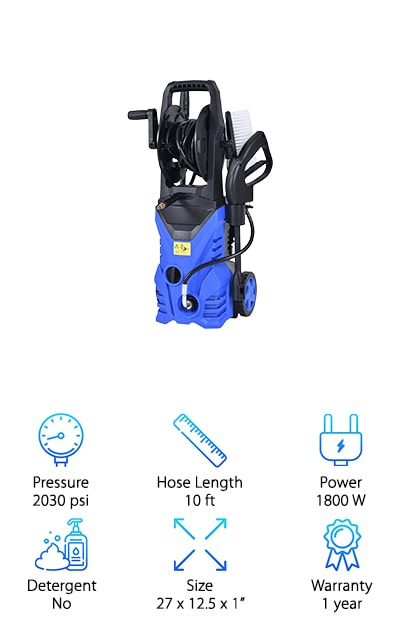 There's lots to love about the Goplus High Pressure Washer. One of the really great things about it is how adjustable it is. Not only does it have high and low options, it also has an adjustable spray. You can choose a fan setting for a wide spray that covers large areas quickly. Or, choose the jet setting for a more concentrated stream that can get off even the toughest dirt. This one is really easy to move around, too, thanks to the 2 large, durable wheels. The compact size is nice, too, because it makes storage so much easier. In fact, it has a place where you can store everything! The hose winds up right on the unit and there are spots for the accessories, too!