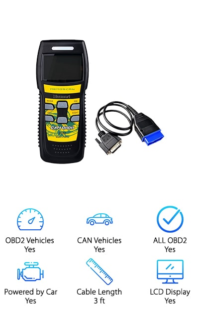 The CC Better scanner is compatible with all OBD2 protocols, including VPW, PWM, ISO, KWP 2000 and CAN, making it a safe bet as a great diagnostic tool for use in most vehicles. This awesome option reads both live and freeze frame data. It is capable of reading and clearing both generic and manufacturer diagnostic trouble codes and performs I/M testing to quickly and efficiently determine the cause of the check engine light. Additionally, the CC Better reads vehicle information, such as the VIN number. Available in a wide range of languages, including German, English, French, Italian, Czech, Spanish, Finnish, Turkish, Hungarian, and Polish, you're sure to find one to suit your needs! With a one year warranty and top reviews, the CC Better is definitely worth a peek, especially if you are looking for a great scanner with multiple language support.
